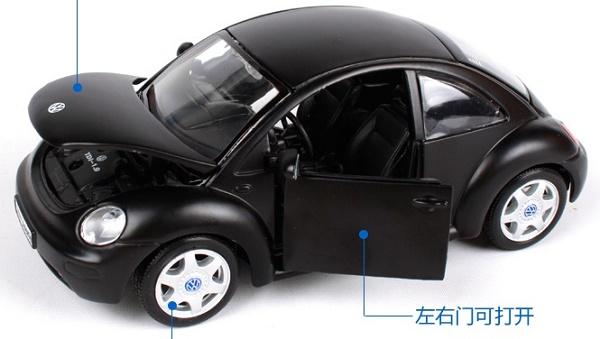 โมเดลรถยนต์ โมเดลรถเหล็ก VW New Beetle matte black 4
