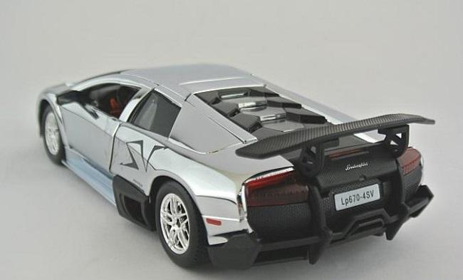 โมเดลรถ โมเดลรถยนต์ โมเดลรถเหล็ก Lamborghini LP670-4 silver 2