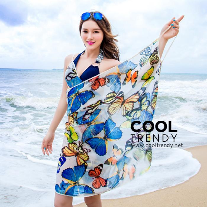 ผ้าคลุมชุดว่ายน้ำ ผ้าคลุมชายหาด ผ้าชายทะเล SH787 : ผ้าชีฟอง size 140x80 cm (มีสายคล้องแขน) สำเนา