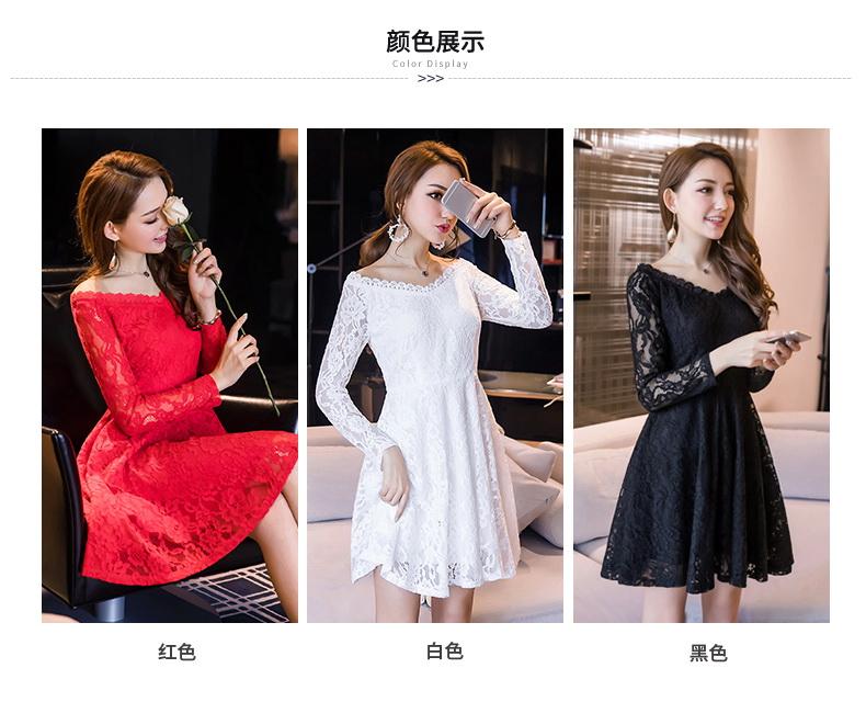 เดรสผ้าลูกไม้ออกงานไซส์ใหญ่ ชุดสวยสุดหรู สีแดง/สีขาว/สีดำ (S,M,L,XL,2XL,3XL,4XL) F98659