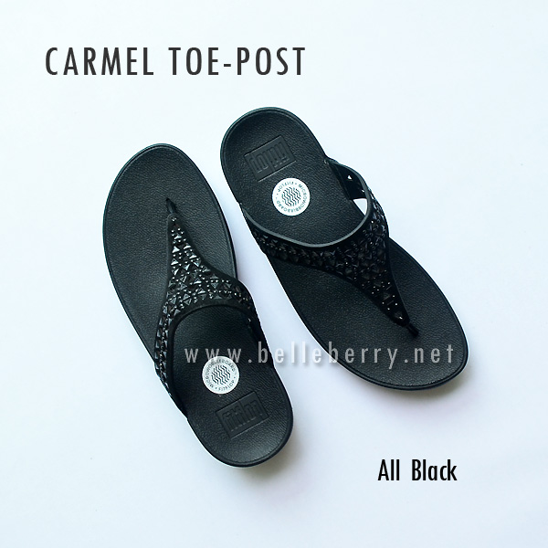 **พร้อมส่ง** FitFlop : CARMEL Toe-Post : All Black : Size US 6 / EU 37