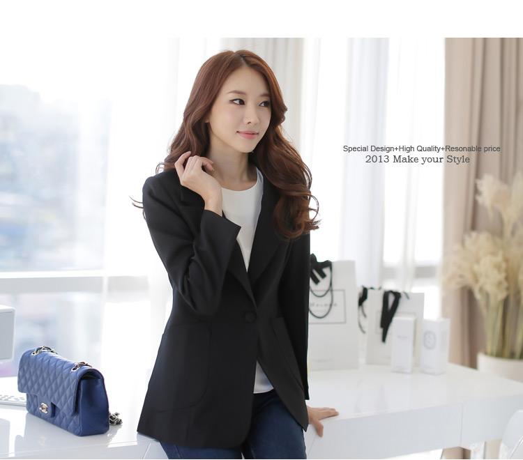 ++พร้อมส่ง++ เสื้อสูทสไตล์เกาหลี สีดำ (2XL,3XL)