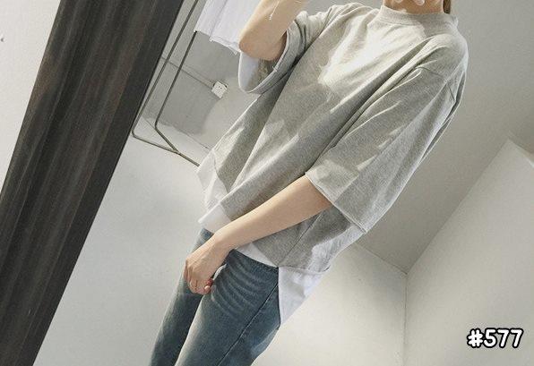 เสื้อยืดสีพื้น Oversize แต่งหลอก2ชั้นเก๋ๆ สีเทา 577(B)