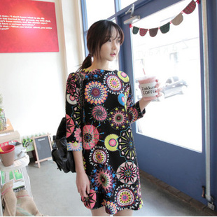 """""""พร้อมส่ง""""เสื้อผ้าแฟชั่นสไตล์เกาหลีราคาถูก Brand Mebao เดรสสีดำลายกราฟฟิกสีสดใส แขน3ส่วน ไม่มีเข็มขัด มีซับใน"""
