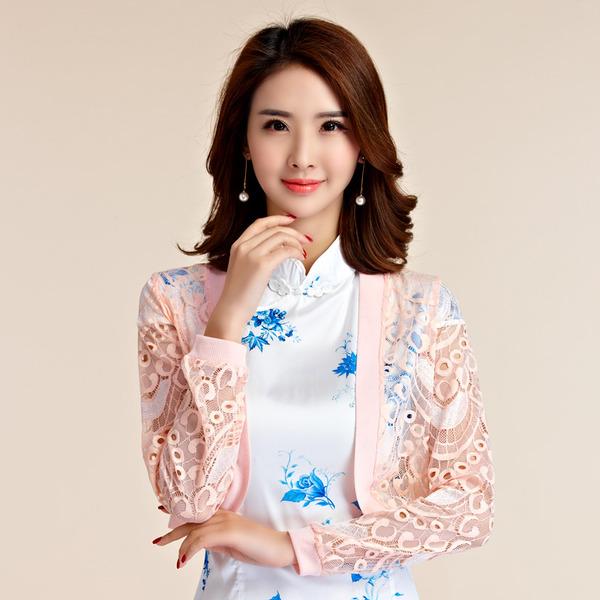 เสื้อคลุมไหล่ผ้าลูกไม้สไตล์หวาน แขนยาว สีชมพู (XL,2XL,3XL,4XL)