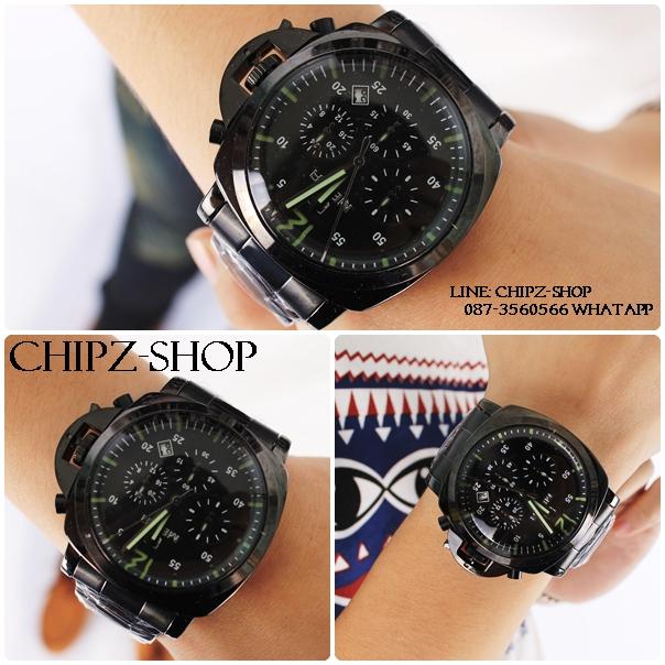 นาฬิกาข้อมือผู้ชาย แบรนด์ MEGIA สีดำ