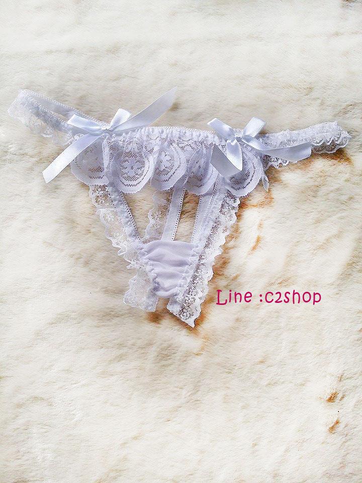 กางเกงในจีสตริงสีขาวปักโบว์