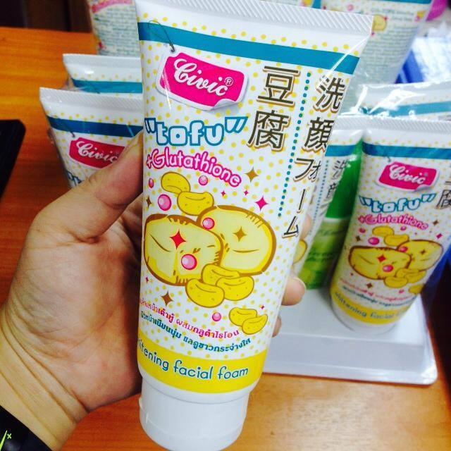Civic Tofu whitening facial foam tofu+glutathione ทำความสะอาดล้ำลึก