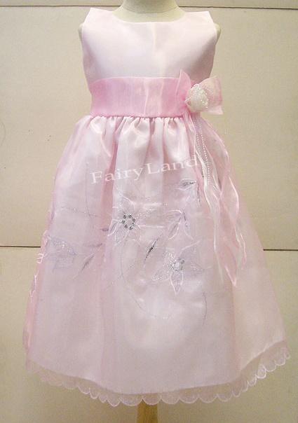 ชุดเดรสเด็กผู้หญิง แขนกุดสีชมพู สำหรับเด็กโต