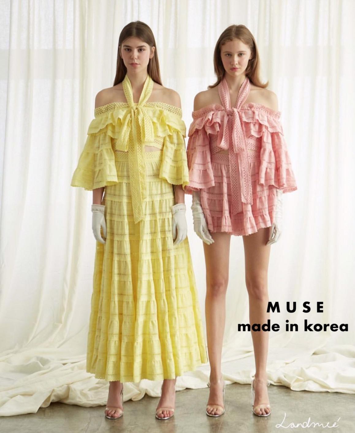 เสื้อผ้าแฟชั่นพร้อมส่ง เซ็ตเสื้อเปิดไหล่ผ้าลูกไมสีเหลือง