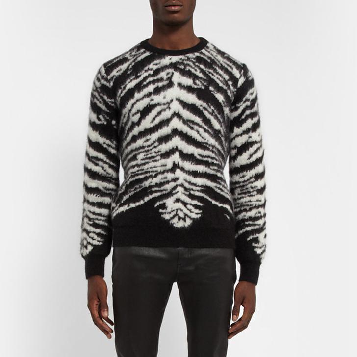 เสื้อSaint Laurent Tiger-intarsia Mohair-Blend Sweater