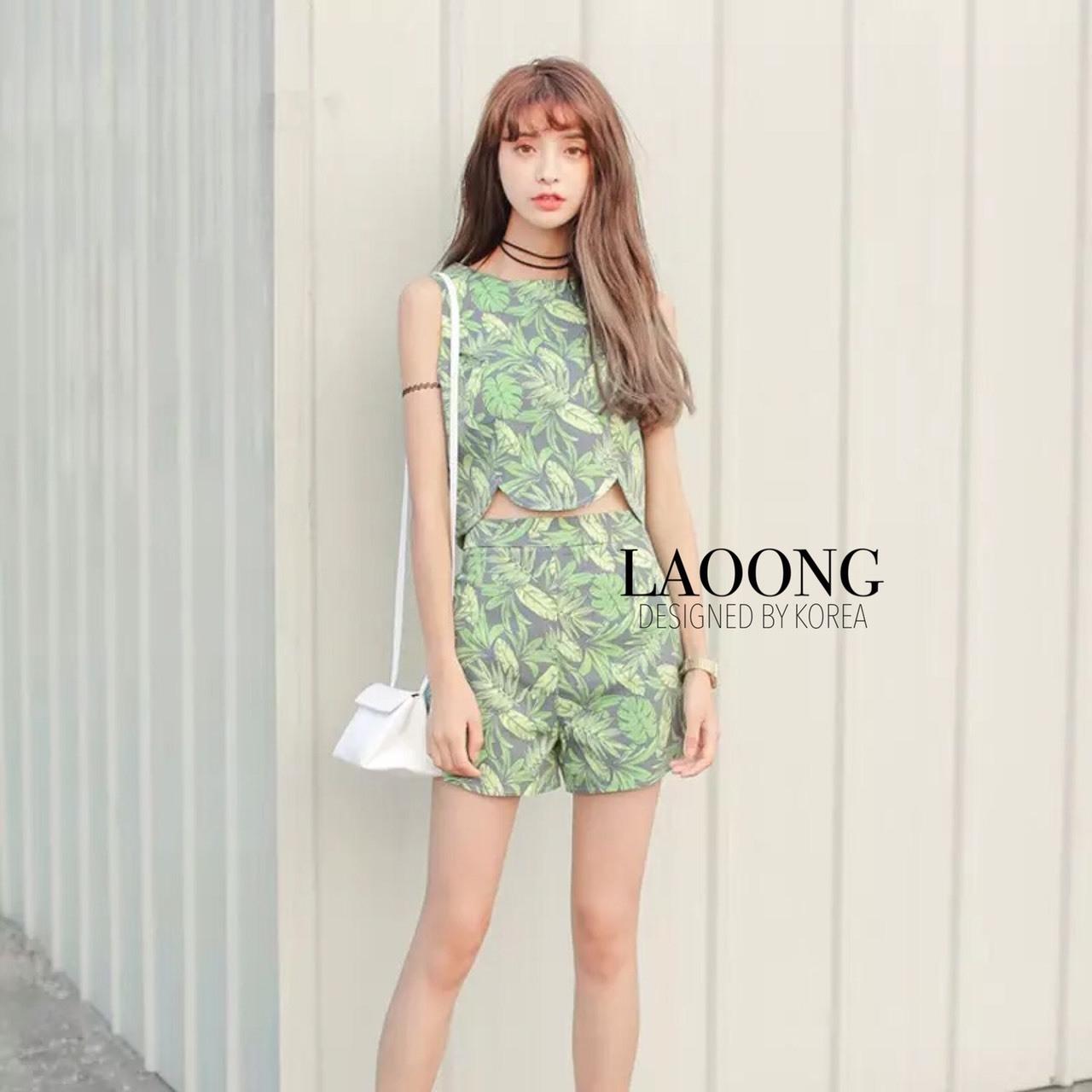 เสื้อผ้าแฟชั่นเกาหลี พร้อมส่งset เสื้อ+กางเกงลายใบไม้สีเขียวอ่อน