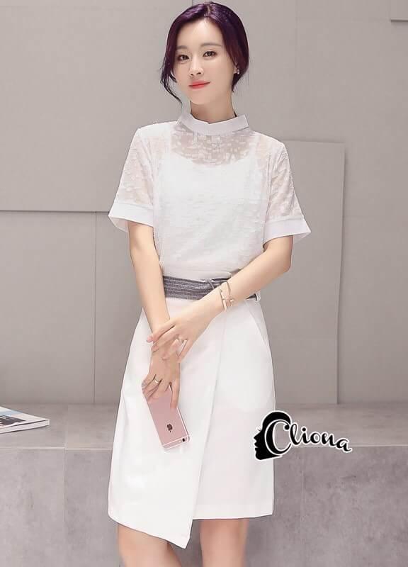 ชุดเดรสเกาหลี พร้อมส่งDG All New Golden Floral Luxury Dress