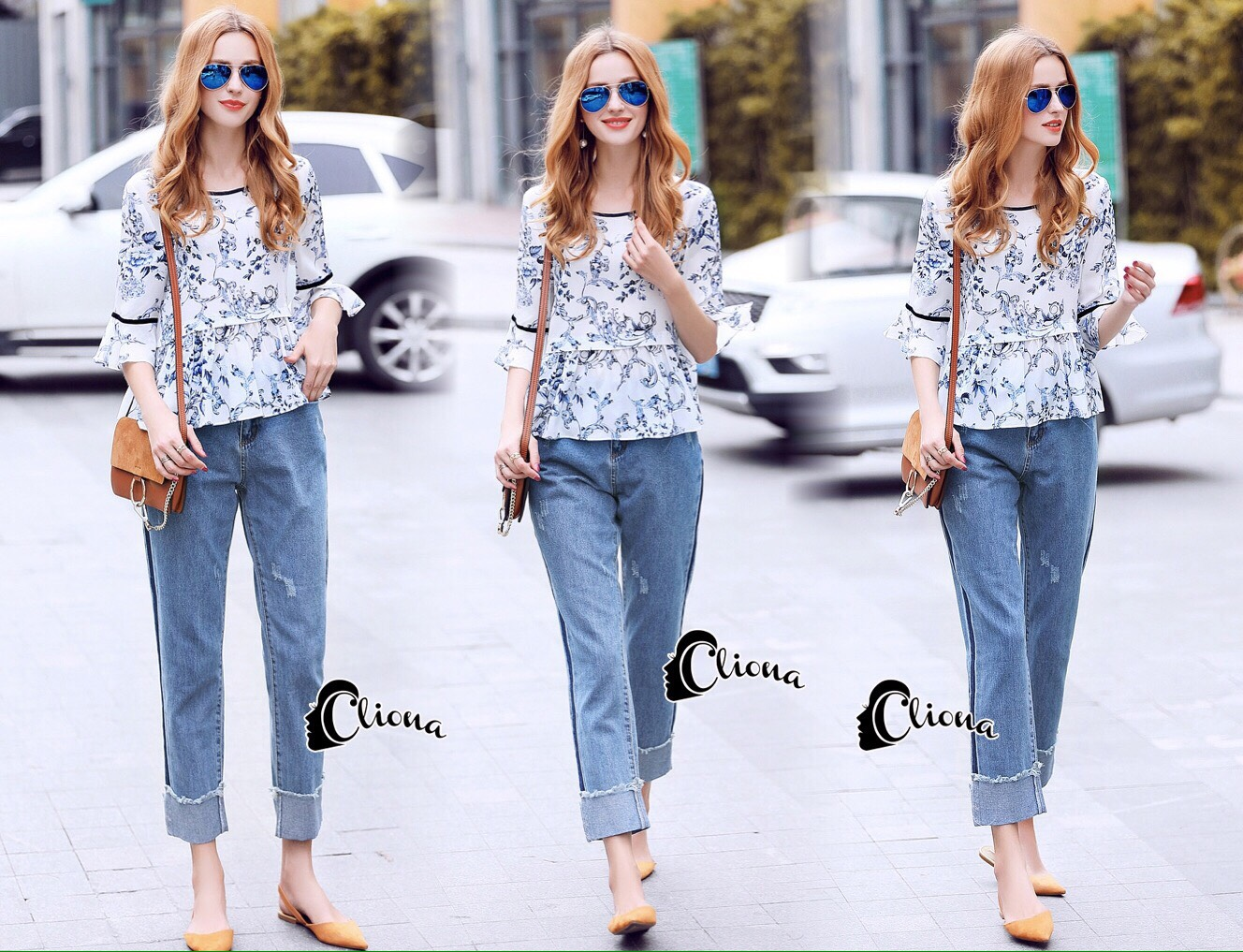 เสื้อผ้าเกาหลีพร้อมส่ง กางเกงยีนส์ขายาวสีซีด เอวสูง