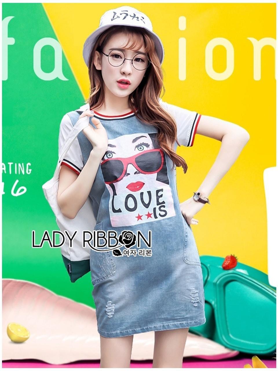 ชุดเดรสเกาหลี พร้อมส่งเดรสผ้าเดนิมพิมพ์ลายสไตล์สตรีทสุดเก๋