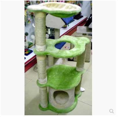 คอนโดแมวสามชั้น เป็นบ้านและกระบะนอนพักผ่อน สูง 117 cm