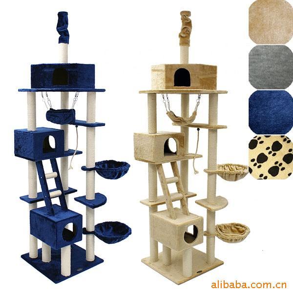 MU0071 คอนโดแมวหกชั้น ขนาดใหญ่ ต้นไม้แมว มีบ้านอุโมงค์ กระบะนอน เปลนอนของเล่นแขวน บันได สูง 240-260 cm