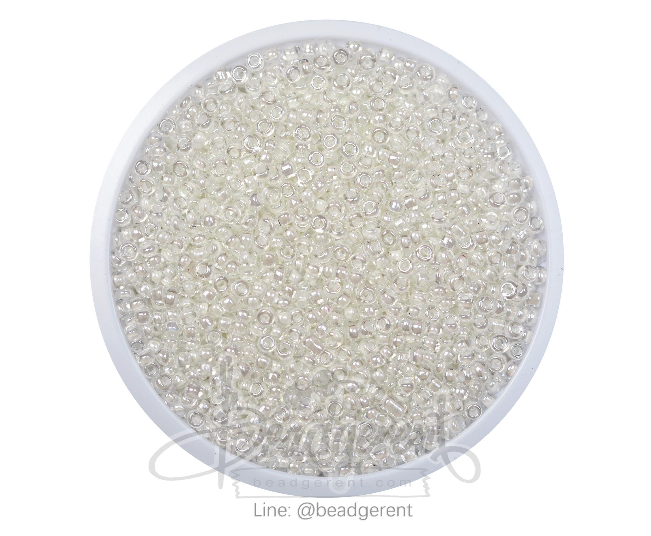 ลูกปัดเม็ดทราย 12/0 สอดไส้ สีขาว (100 กรัม)