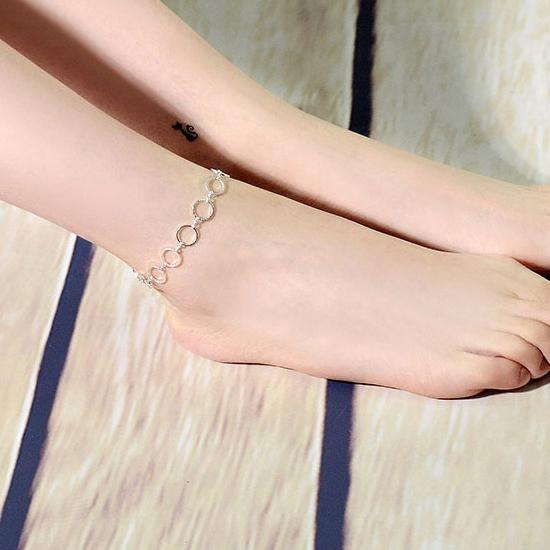 สร้อยข้อเท้าเกาหลีห่วงเงินเชื่อมวงกลม