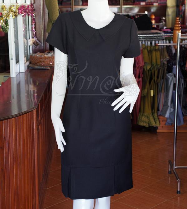 เดรสผ้าทอสุโขทัย ปกแหลม สีดำ ไซส์ M