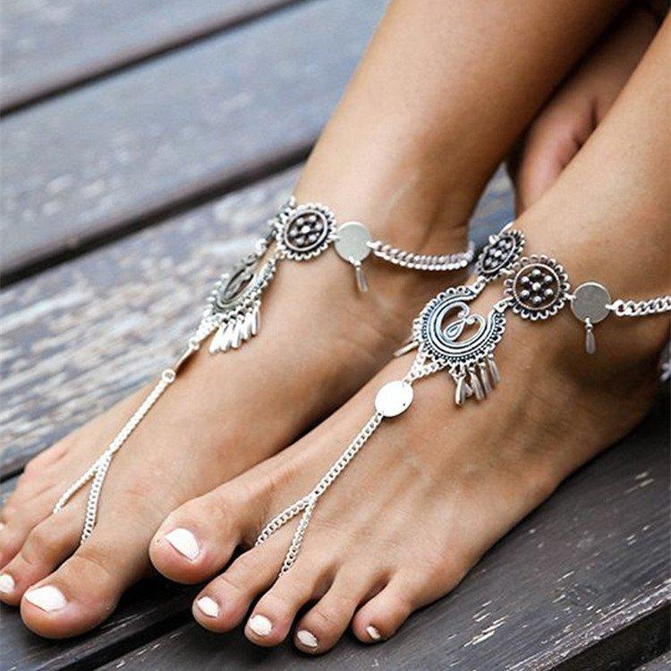 สร้อยข้อเท้า Silver Vintage Fashion Accessories Ankle