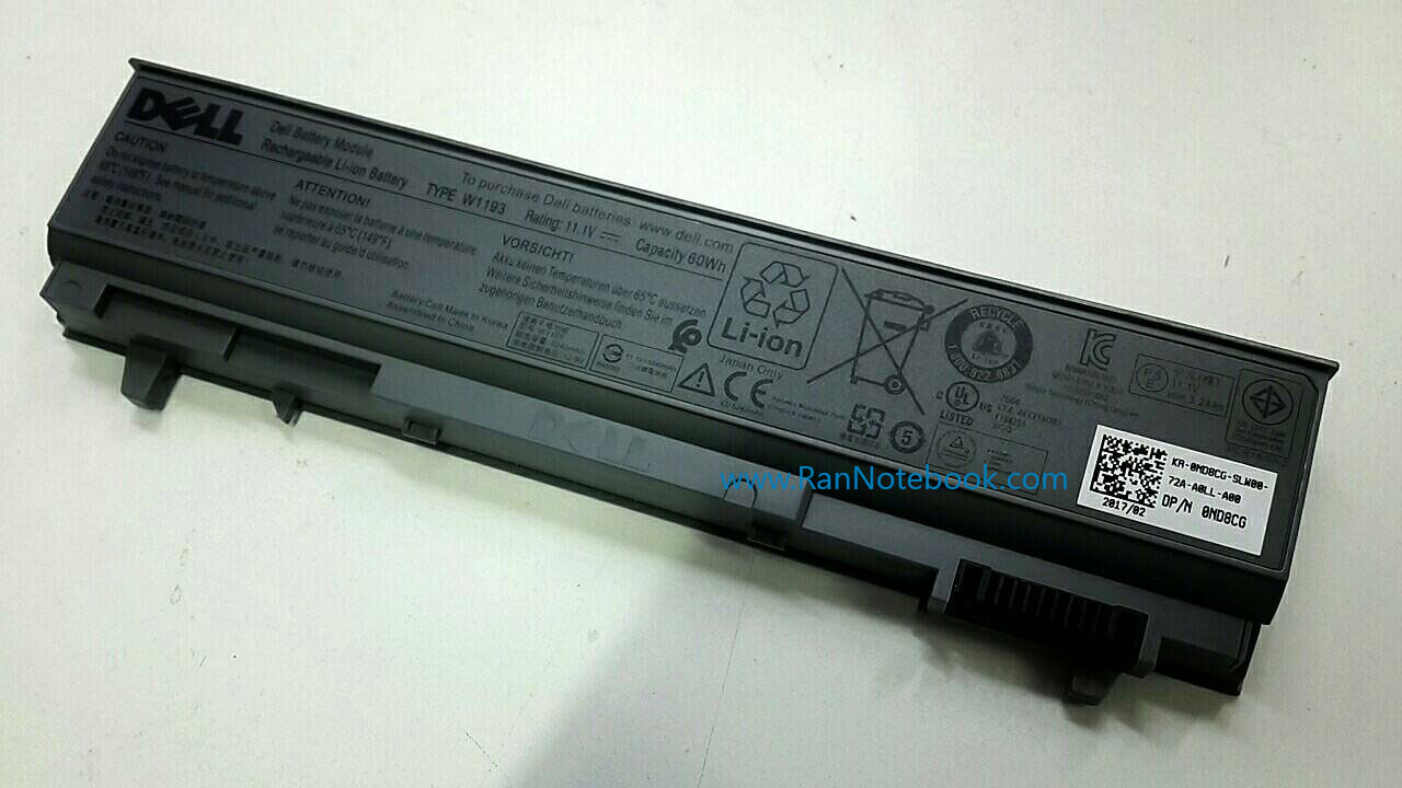 Battery Dell Latitude E6410 E6410 ATG 60Whr W1193 แท้ ประกันศูนย์ Dell Thailand 1 Year