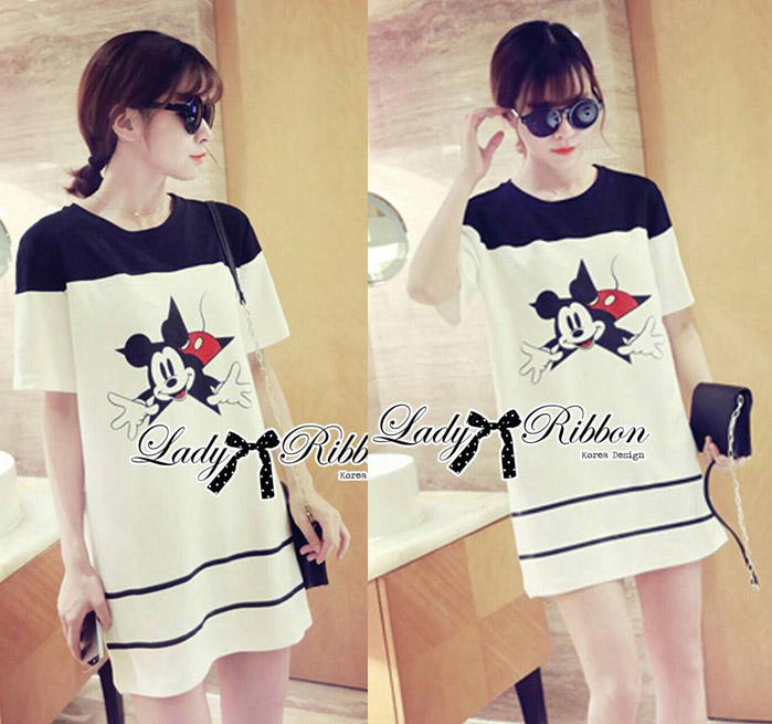 DR-LR-141 Lady Minnie Playful Mickey Print Dress in Black and White