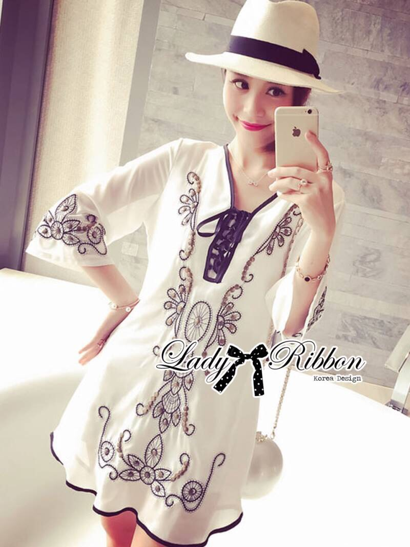 Miami Beach Embroidery Chiffon Dress