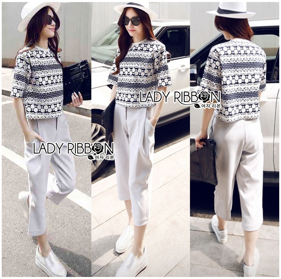 Lady Leslie Lace Embroidered Jersey and grey Culottes Set L266-79C03