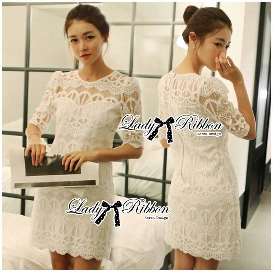 DR-LR-157 Lady Rebecca Classic Lace Dress in White