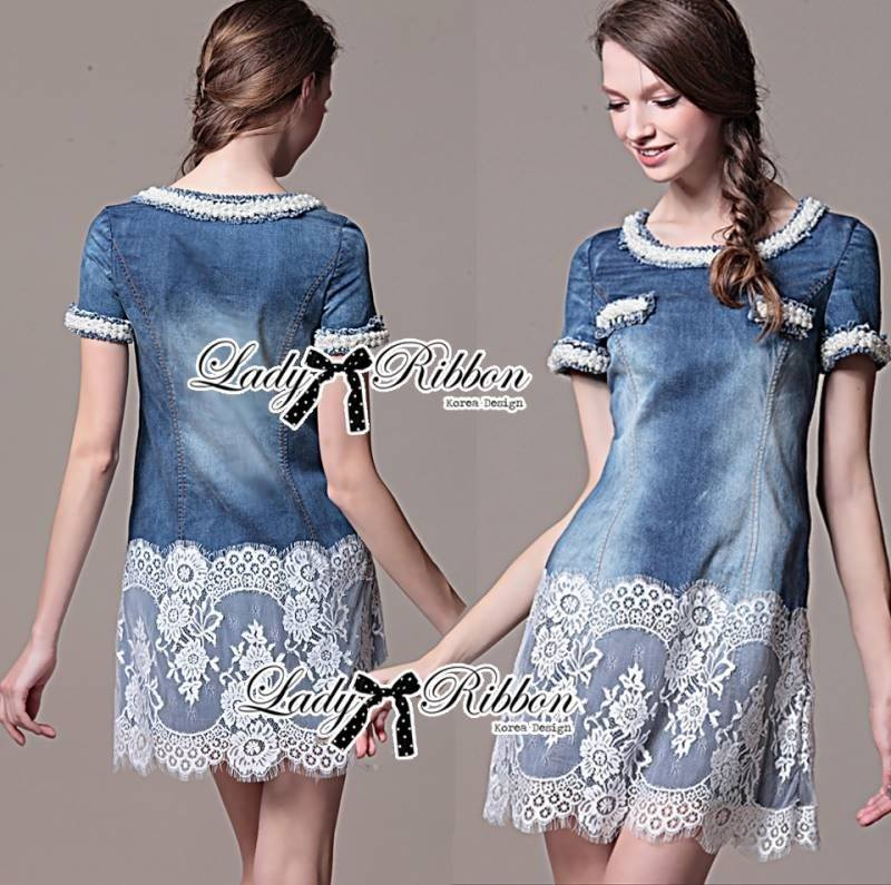 Lady Christine Sweet Pearl Embellished Denim Dress with Lace L163-85C07