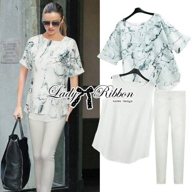 Lady Kate Marble Chiffon Top and White Leggings Set L119-79C12