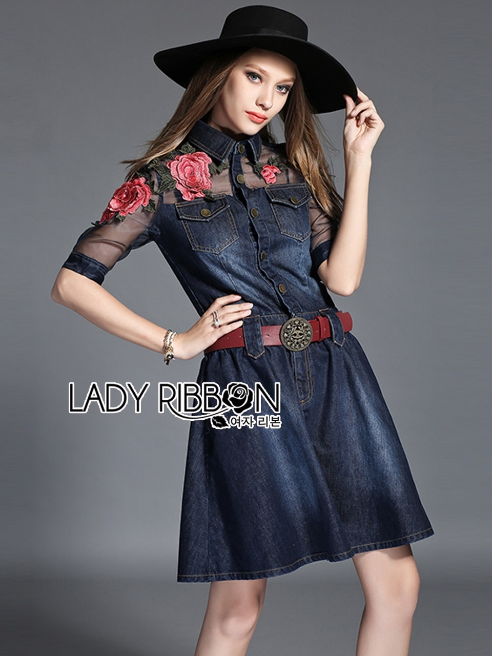Lady Marissa Sweet Country Red Roses Embroidered Organza and Denim Shirt Dress with Belt L212-85C01