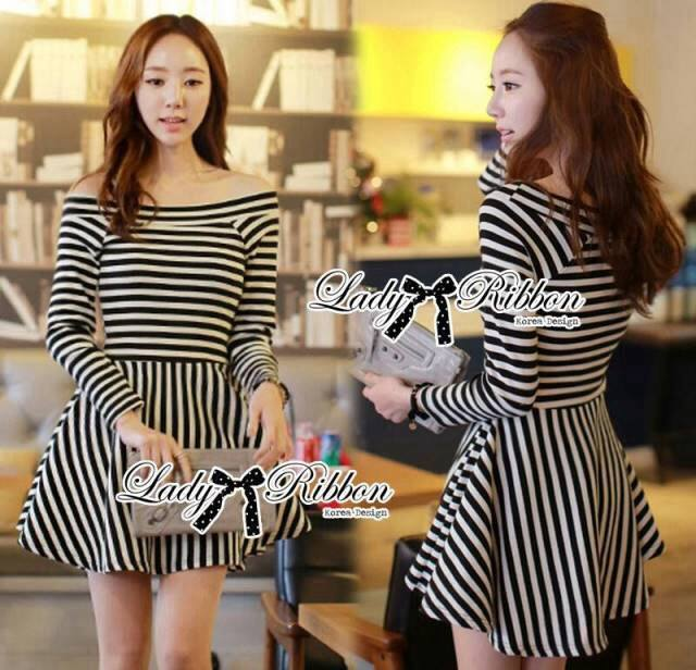 DR-LR-296 Lady Mandy Mixed Striped Easy Dress