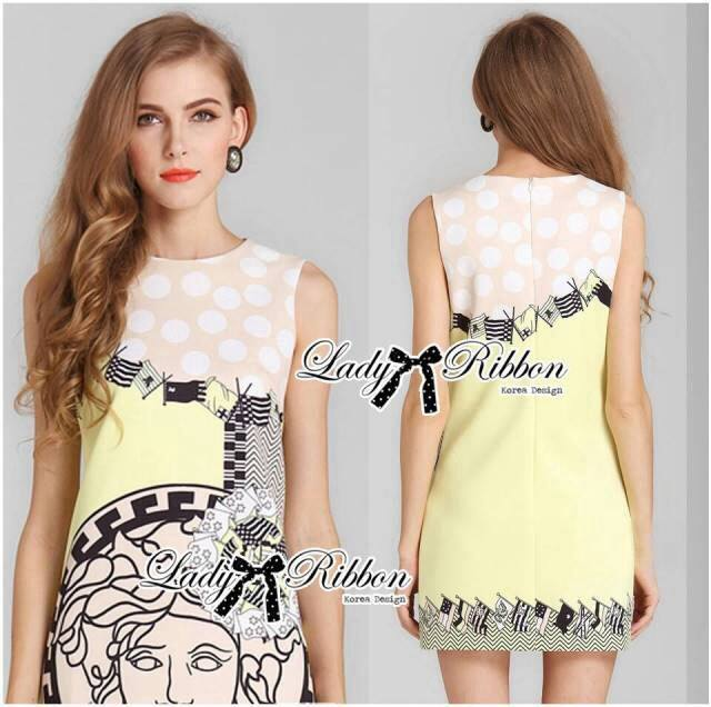 DR-LR-247 Lady Eleonore Versace Mixed Print Sleeveless Dress in Pastel