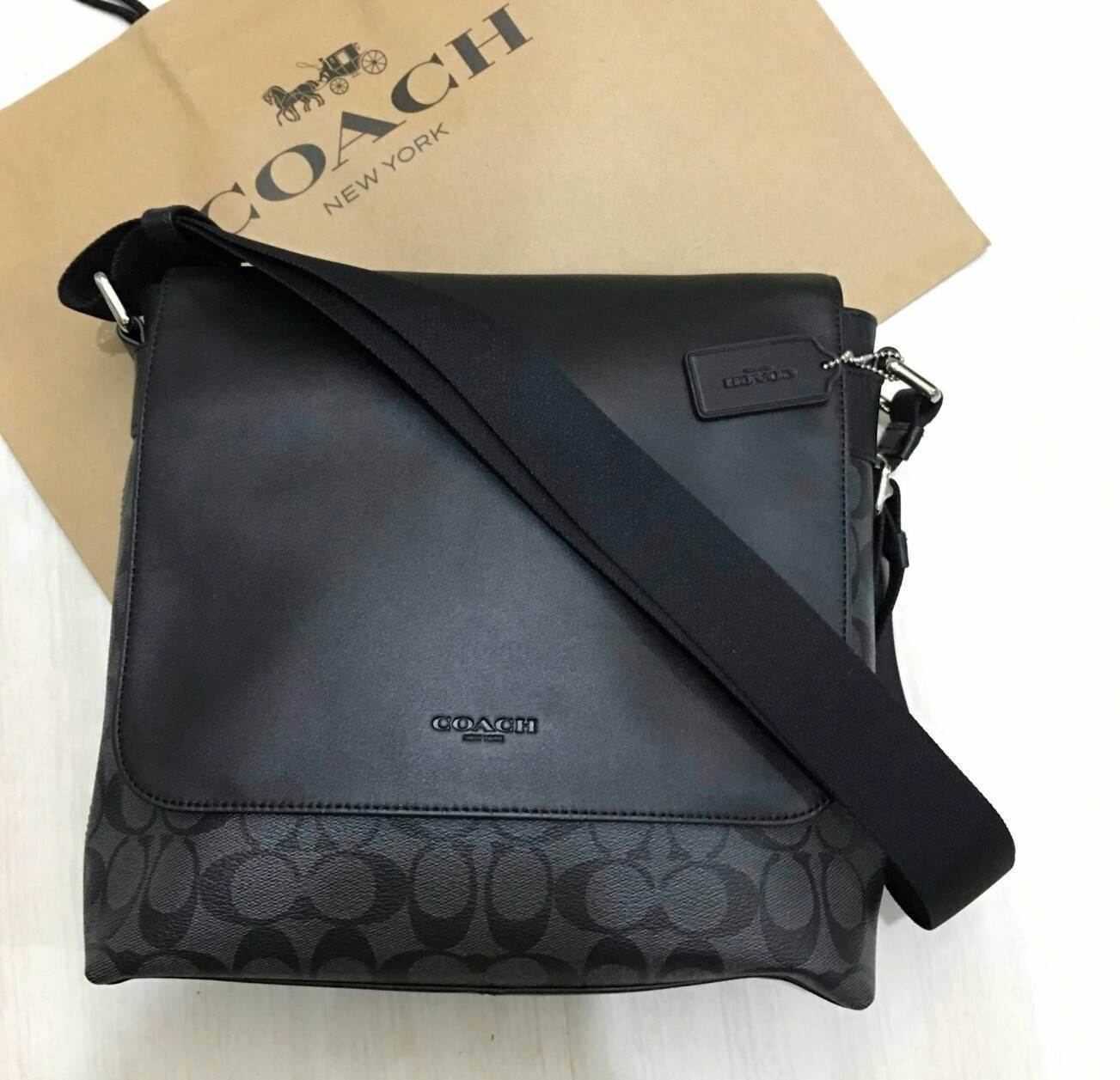 COACH F54771 CHARLES SMALL MESSENGER IN SIGNATURE