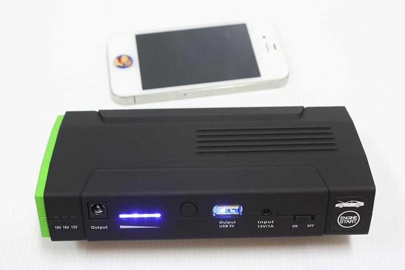 เครื่องจั๊มสตาร์ท V-Powers T9 เปรียบเทียบขนาด iphone4