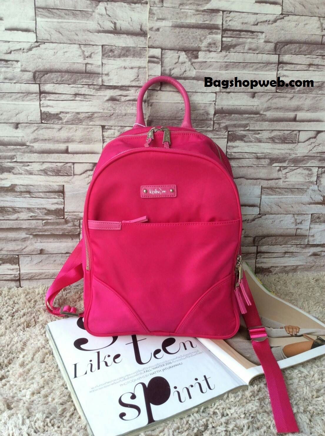 กระเป๋า Kipling Amory Medium Casual Shoulder Backpack Limited Edition สีชมพู 1,890 บาท Free Ems