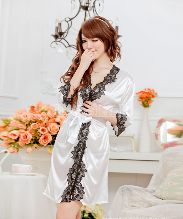 เซ็กซี่ชุดชั้นในลูกไม้ Robe ชุดนอน Nightgown + G-String สีขาว+ชมพูอ่อน
