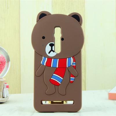 เคส asus zenfone 2 5.5 ze550ml/ze551ml ซิลิโคน การ์ตูน 3D หมีบราวน์ ผูกผ้าพันคอ