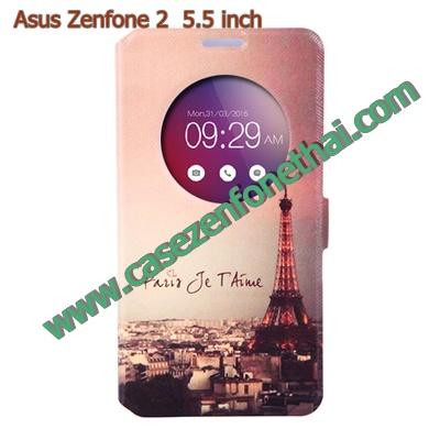 เคส asus zenfone 2 5.5 ze550ml/ze551ml ฝาพับ flip cover PARIS Sunset
