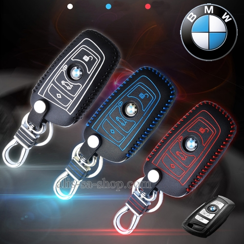 ซองหนังแท้ ใส่กุญแจรีโมท รุ่นด้ายสี พิมพ์โลโก้ BMW new series 3,5 รุ่น 3 ปุ่ม