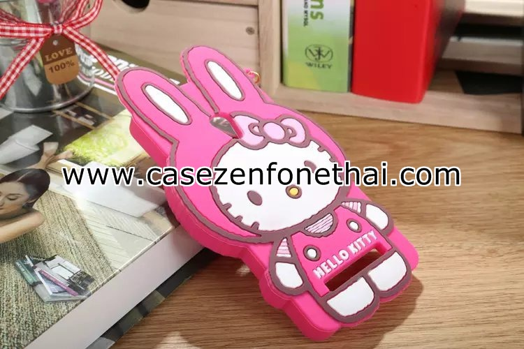 เคส zenfone 5 ซิลิโคน การ์ตูน 3D คิตตี้ หูกระต่าย สีชมพูเข้ม Rose Red