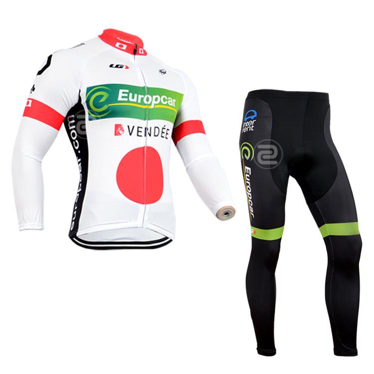 ชุดจักรยานแขนยาวทีม Europcar 14 สีขาวแดงเขียว สั่งจอง (Pre-order)