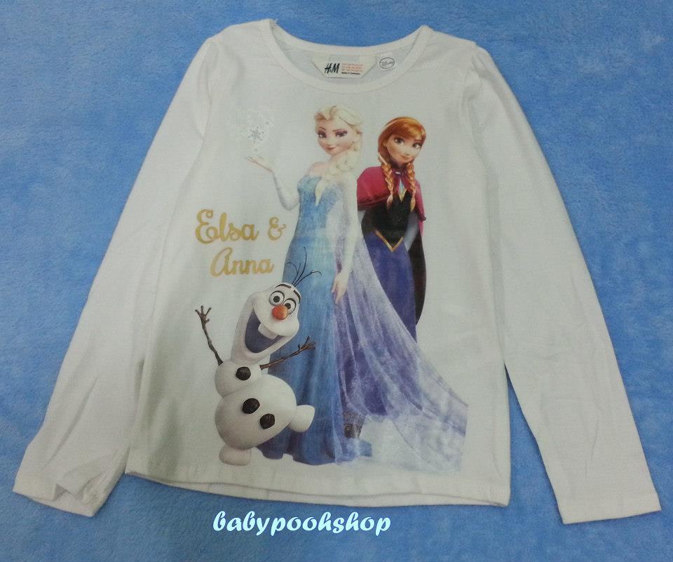 H&M : เสื้อยืดแขนยาวลาย Elsa&Anna สีขาว Size : 1.5-2y