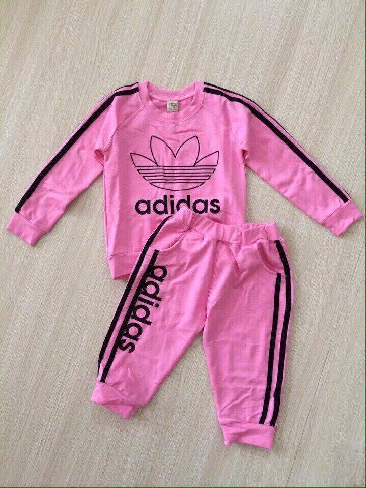 ชุดเซ็ท เสื้อแขนยาว + กางเกงขายาว adidas สีชมพู size : 1y / 4y
