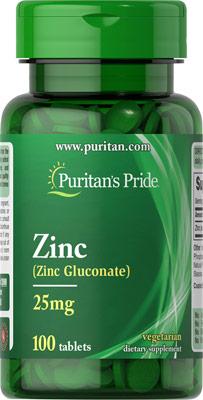 ซิงค์ สังกะสี Puritan's Pride Zinc 25 mg (Zinc Gluconate) 100 tablets