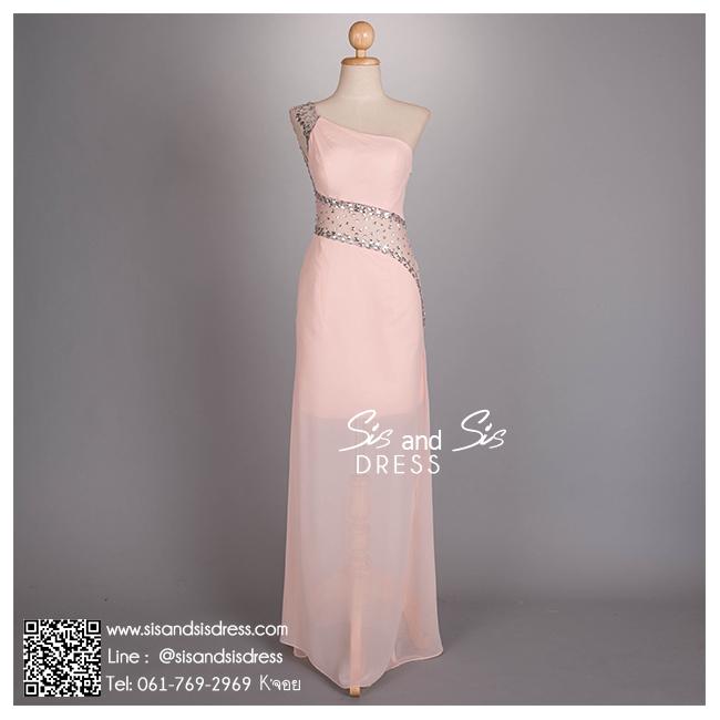 ld3036 ชุดราตรียาว สีชมพู ซีทรูหน้าหลัง ปักคริสตอล เลื่อม สวย หรู เซ็กซี่มากๆ