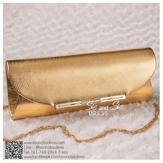 bs0002 กระเป๋าคลัช สีทอง กระเป๋าออกงานพร้อมส่ง ราคาถูกกว่าเช่า แบบสวยๆ ดูดีเหมือนดาราใช้