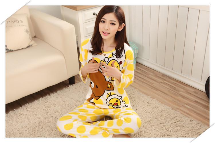 ชุดนอนแขนยาวน่ารัก ลายริลัคคุมะ สีเหลือง